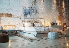 fototapete bett in loft wohnung mit ziegelwand schlafzimmer in vintage
