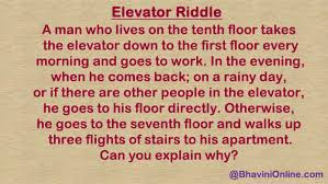 A New World Whatsapp Riddle The Famous Elevator Puzzle
