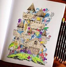 Funny Adult Coloring Book Doodle Invasion Kerby Rosanes