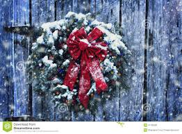 Rustic Christmas Wreath Stock Image Of Decor Blizzard