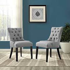 Grey Upholstered Dining Chairs With Nailheads by Modway Eei 2223 Lgr Regent Fabric Dining Chair In Tufted Light