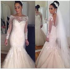 Image Is Loading Blush Pink Mermaid Lace Wedding Dress Long Sleeve