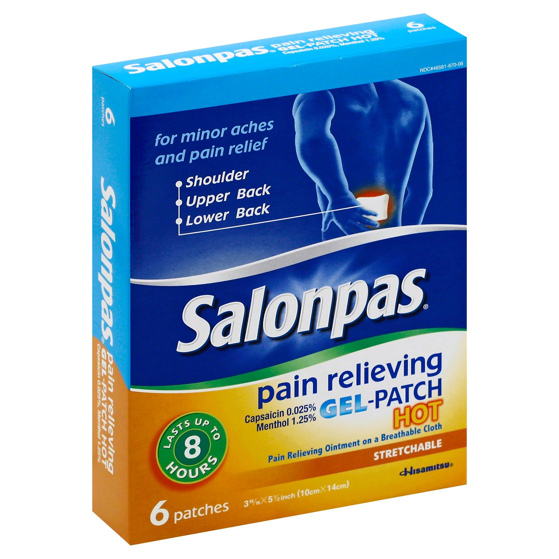 Hisamitsu Salonpas Pain Relieving Gel-Patches - Hot, 10cm X 14cm, 6 Pack