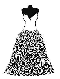 Silhouette of a beautiful dress with floral element vector art illustration