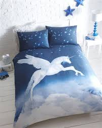 Bed Cover Sets by Blue Mystical Unicorn Duvet Cover Bed Set Double Amazon Co Uk
