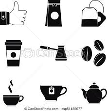 Ground Coffee Icons Set Simple Style
