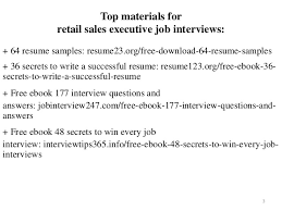 2 3 Top Materials For Retail Sales Executive Job Interviews 64 Resume Samples