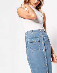 custom 100 cotton long denim skirts with patch pockets denim midi