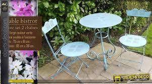table bistrot 2 chaises en fer forgé bleu