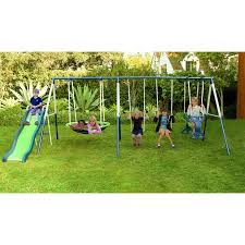 Patio Swing Sets Walmart by Sportspower Outdoor Rosemead Metal Swing And Slide Set Walmart Com