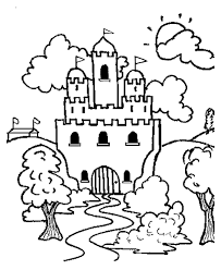 Castle Coloring Page Printable Coloring Book Sheet line for