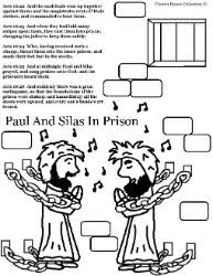Paul And Silas Coloring Pages Acts In Prison