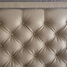 Black Leather Headboard With Diamonds by Crystal Button Diamond Tufted Faux Leather Headboard With