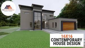104 Contemporary House Design Plans 3 Bedroom Tour Plan Planos De Casas 16x16m Youtube