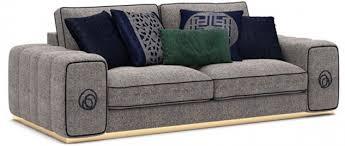 casa padrino luxus wohnzimmer sofa grau schwarz gold 260