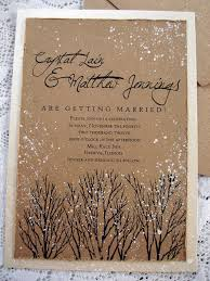 Winter Wedding Invitations Rustic Tree Hand Stamped And Painted Invitation Stationary