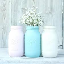 Aqua Kitchen Canisters Painted Mason Jar Canister Set Vases Quart Ball Jars Pink And