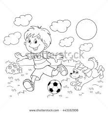 Coloring Page Outline Of Cartoon Boy With A Soccer Ball Dog Football