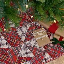 VHC Brands Festive Natural Burlap Ruffled Tree Skirt 49 Red