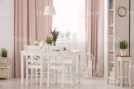 le über dem tisch und weiße stühle in rosa esszimmer interieur mit pflanzen und gardinen echtes foto stockfoto und mehr bilder blume