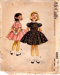 McCalls 4383 Pattern Girls Full Skirt Dress My Mother Sewed All Our School Clothes Jeans And Shorts Were Not Allowed Lots Of Plaid Peter Pan Collars