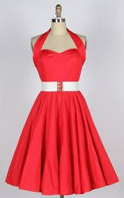 40s 50s Halterneck Cotton Swing Dress Red