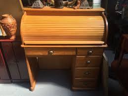 bureau top office solid pine roll top office bureau desk drawers ebay quercus