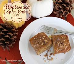 Applesauce Spice Cake with Caramel Topping A Little Claireification
