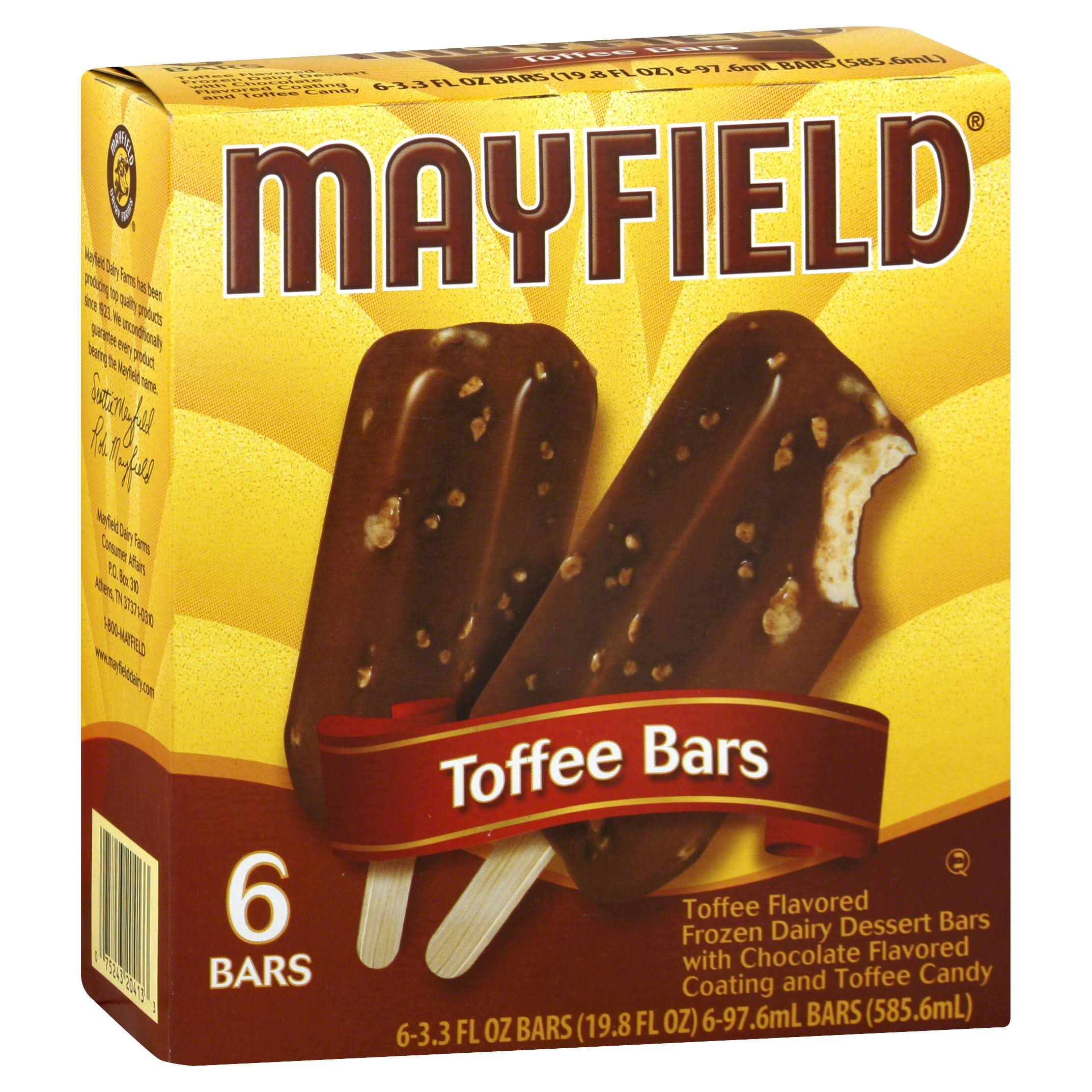 Mayfield Ice Cream Bars - Toffee Bars, 3.3oz, 6ct