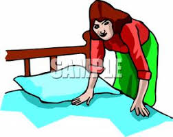 woman making the bed royalty free clipart picture make bed clipart 300 238