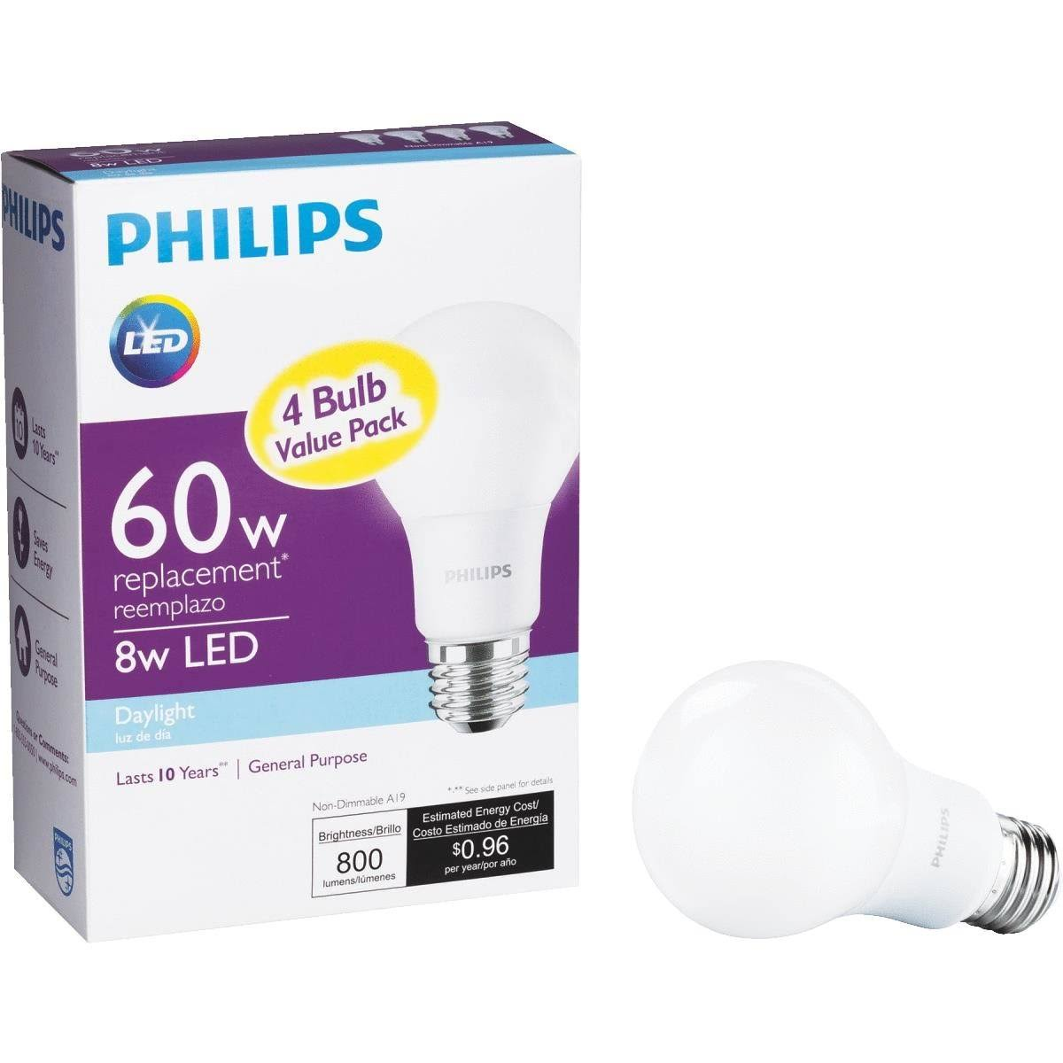 Philips LED A19 Daylight Bulb - 60W Equivalent