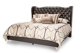 AICO Hollywood Loft King Upholstered Platform Bed in Ganache