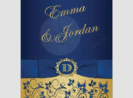 Blue And Gold Wedding Invitations Awesome Invitation Royal Floral Monogram