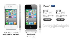 4 UK Pay As You Go Prices 16GB £499 32GB £599