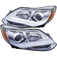 anzo projector headlights chrome plank style ford focus 2012 14