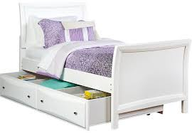 Ivy League White 4 Pc Twin Sleigh Bed w Trundle Trundle Beds Colors