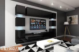 schwarze möbel für wohnzimmer in hochglanz future 14