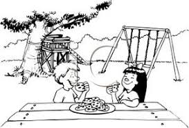 Kids Eating Cookies In a Backyard Royalty Free Clipart Picture