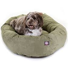 amazon com 52 inch sage suede bagel dog bed by majestic pet