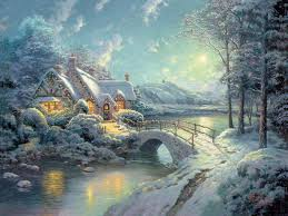 Thomas Kinkade Christmas Tree Village by Thomas Kinkade Christmas Backgrounds Wallpaper Cave
