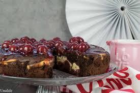 schoko kirsch kuchen mit vanille quark füllung unalife
