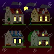 100 Three Storey Houses A Set Of Flat Illustrations Of At Night Onestorey Two