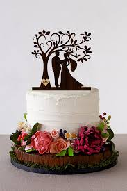 Tree Wedding Cake Topper Personalized Monogram Wooden Rustic Silhouette