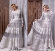discount long sleeve vintage wedding dresses sheer neck lace