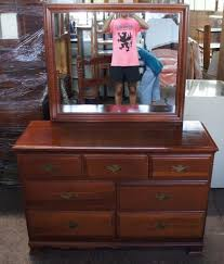 Tiger Oak Dresser With Mirror by Hungerford Solid Cherry Colonial Style 7 Drawer Bedroom Dresser
