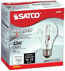 S2402 43 Watt 750 Lumens A19 Halogen 2900K Clear Light Bulbs 60