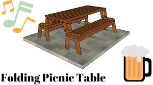 folding picnic table plans youtube