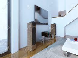 tv und soundsystem im modernen wohnzimmer eine hölzerne lautsprecher mit integriertem subwoofer 3d übertragen