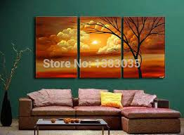 Hand Painted Natural Landscape Painting 3 Piece Modern Abstract Sunset Wall Art Oil On Canvas Set