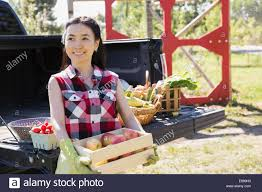 100 Outside The Box Food Truck Woman Holding Box Of Apples Outside Truck Stock Photo 73963823 Alamy